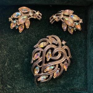 Signed Crown Trifari Brooch and ClipOn Earring Set